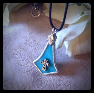Vintage Unisex Cross on Blue Pendant Necklace